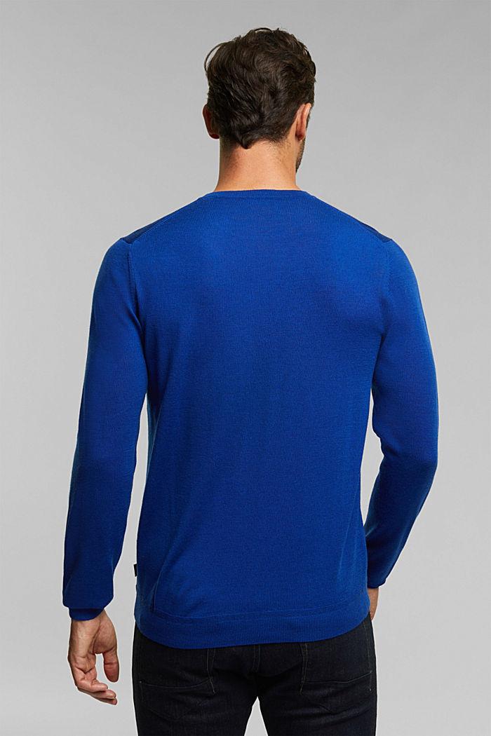 Made of 100% merino wool: crewneck jumper, BRIGHT BLUE, detail image number 3