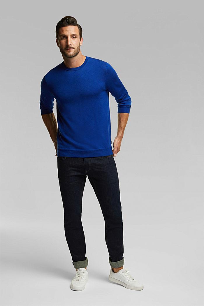 Made of 100% merino wool: crewneck jumper, BRIGHT BLUE, detail image number 1
