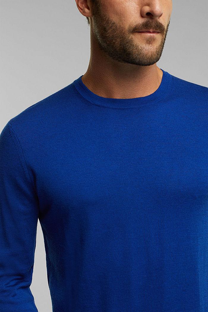 Made of 100% merino wool: crewneck jumper, BRIGHT BLUE, detail image number 2