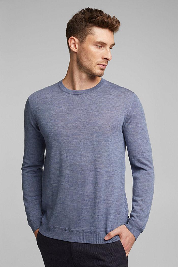 Made of 100% merino wool: crewneck jumper, BLUE LAVENDER, detail image number 0
