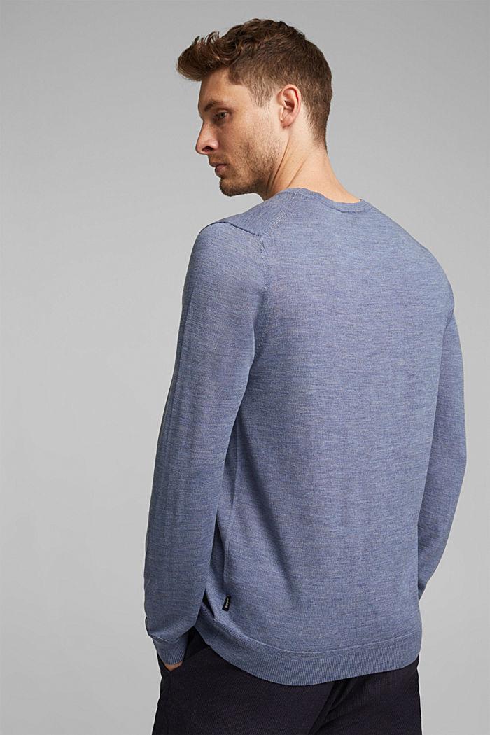 Made of 100% merino wool: crewneck jumper, BLUE LAVENDER, detail image number 3