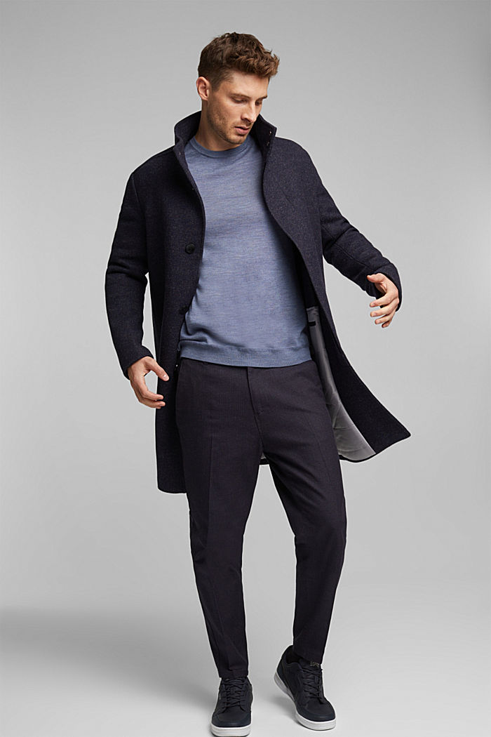 Made of 100% merino wool: crewneck jumper, BLUE LAVENDER, detail image number 1