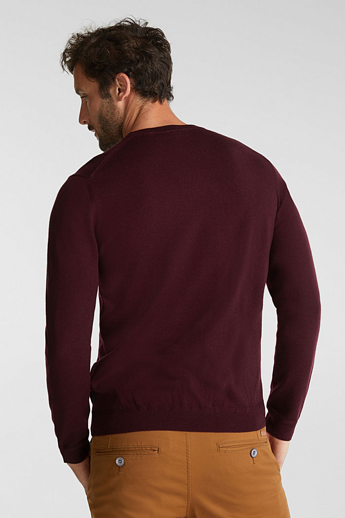 Aus 100% Merinowolle: Rundhals-Pullover, BORDEAUX RED, detail image number 3
