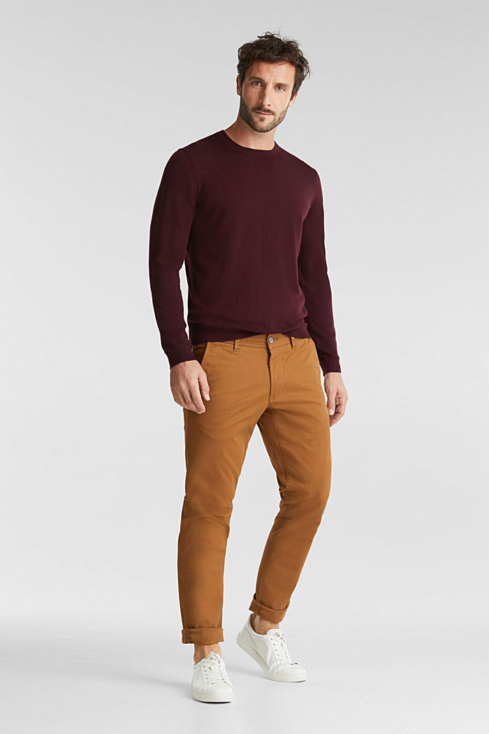 Aus 100% Merinowolle: Rundhals-Pullover, BORDEAUX RED, detail image number 1