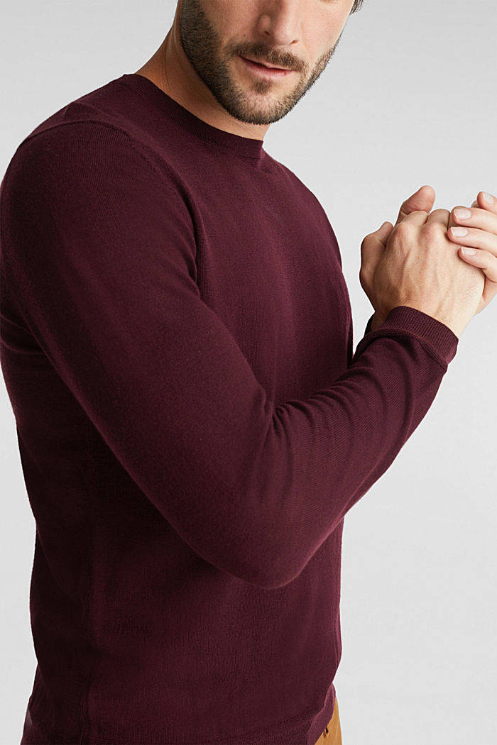 Aus 100% Merinowolle: Rundhals-Pullover, BORDEAUX RED, detail image number 2