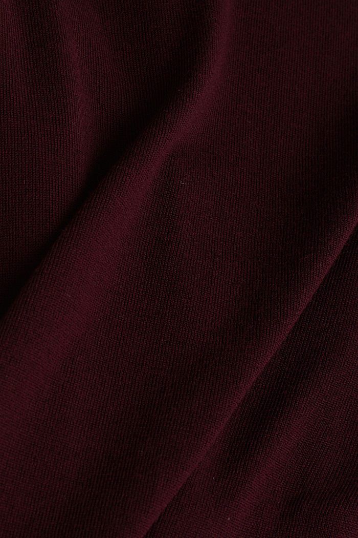 Aus 100% Merinowolle: Rundhals-Pullover, BORDEAUX RED, detail image number 4