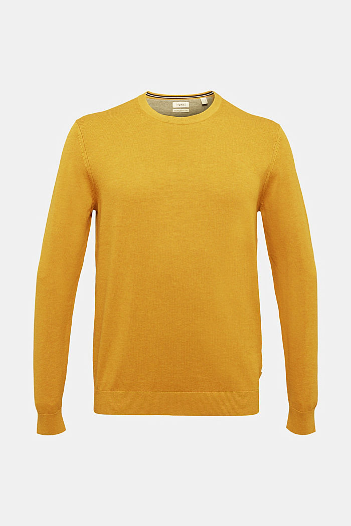 Made of 100% merino wool: crewneck jumper, BRASS YELLOW, detail image number 5