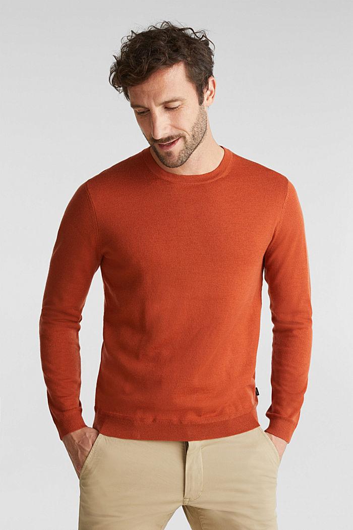 Made of 100% merino wool: crewneck jumper, BURNT ORANGE, detail image number 0