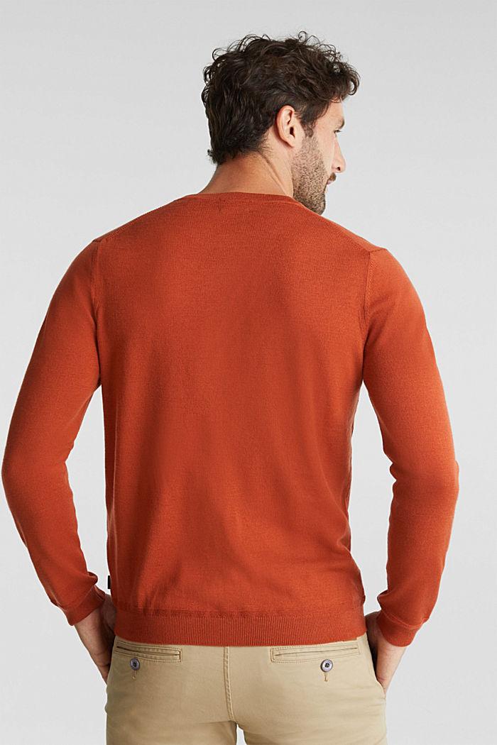 Made of 100% merino wool: crewneck jumper, BURNT ORANGE, detail image number 3