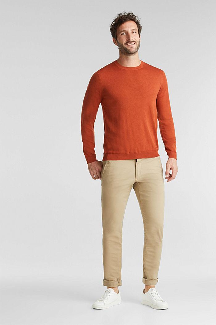 Made of 100% merino wool: crewneck jumper, BURNT ORANGE, detail image number 1