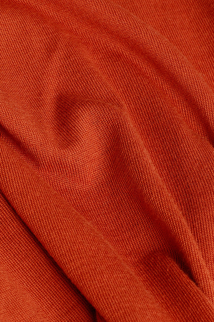 Made of 100% merino wool: crewneck jumper, BURNT ORANGE, detail image number 4