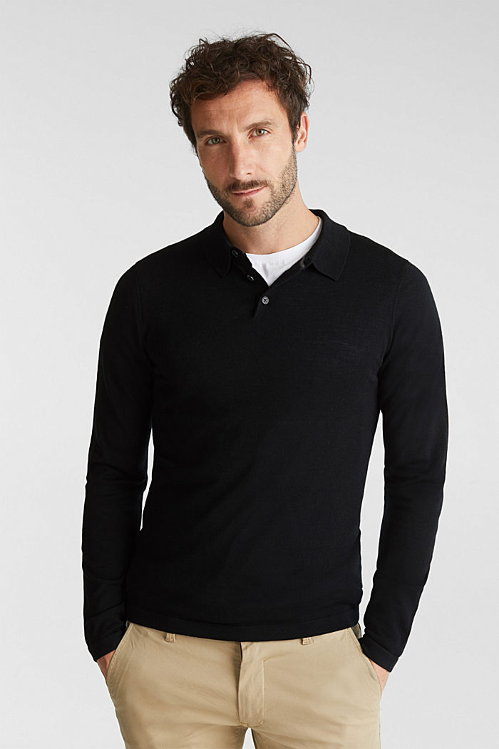 Made of 100% merino wool: Jumper with a collar, BLACK, detail image number 0