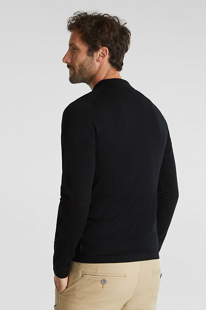 Made of 100% merino wool: Jumper with a collar, BLACK, detail image number 3
