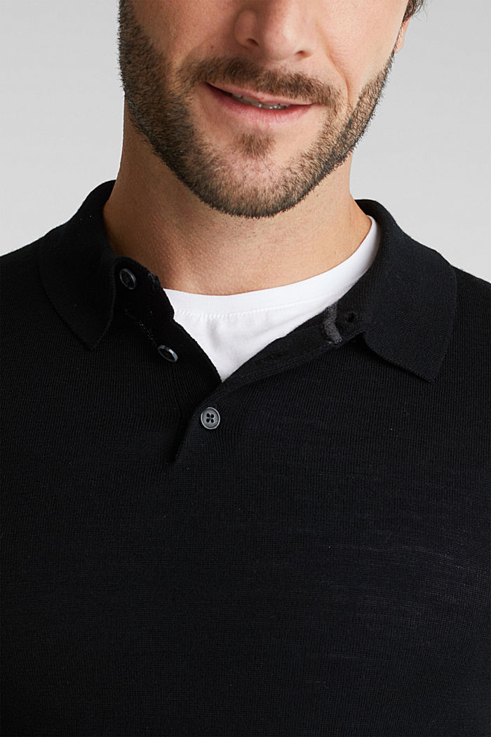 Made of 100% merino wool: Jumper with a collar, BLACK, detail image number 2