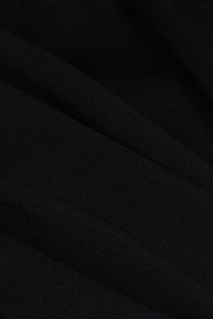 Made of 100% merino wool: Jumper with a collar, BLACK, detail image number 4