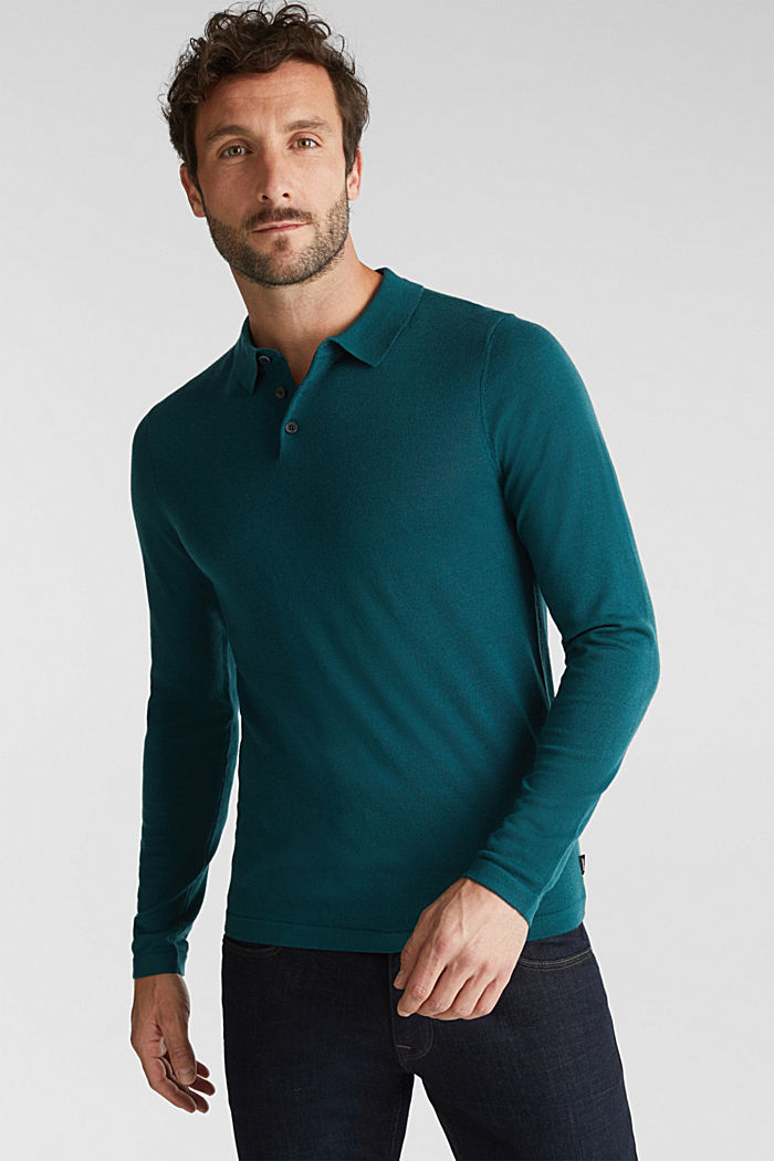 Made of 100% merino wool: Jumper with a collar, BOTTLE GREEN, detail image number 0