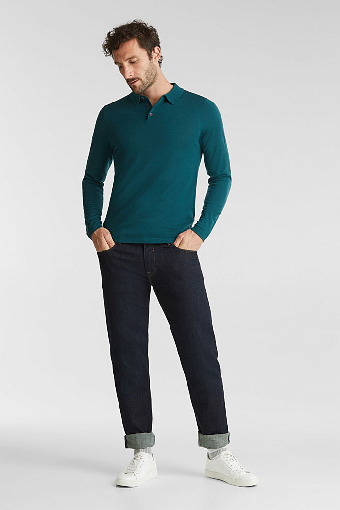 Made of 100% merino wool: Jumper with a collar, BOTTLE GREEN, detail image number 6