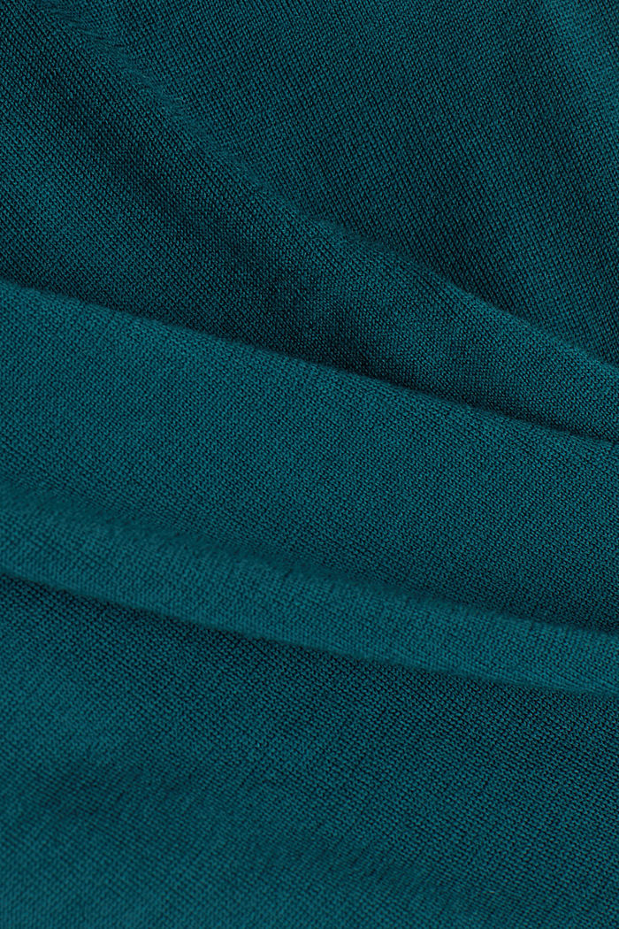 Made of 100% merino wool: Jumper with a collar, BOTTLE GREEN, detail image number 4