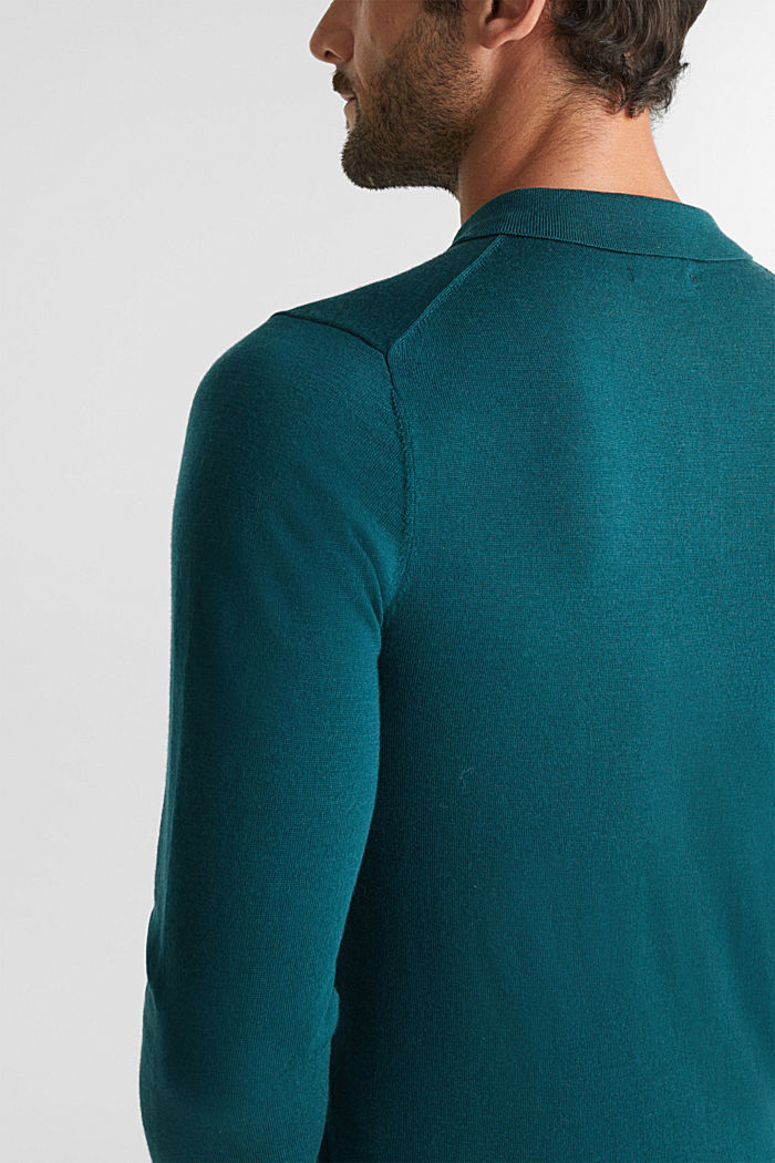 Made of 100% merino wool: Jumper with a collar, BOTTLE GREEN, detail image number 5
