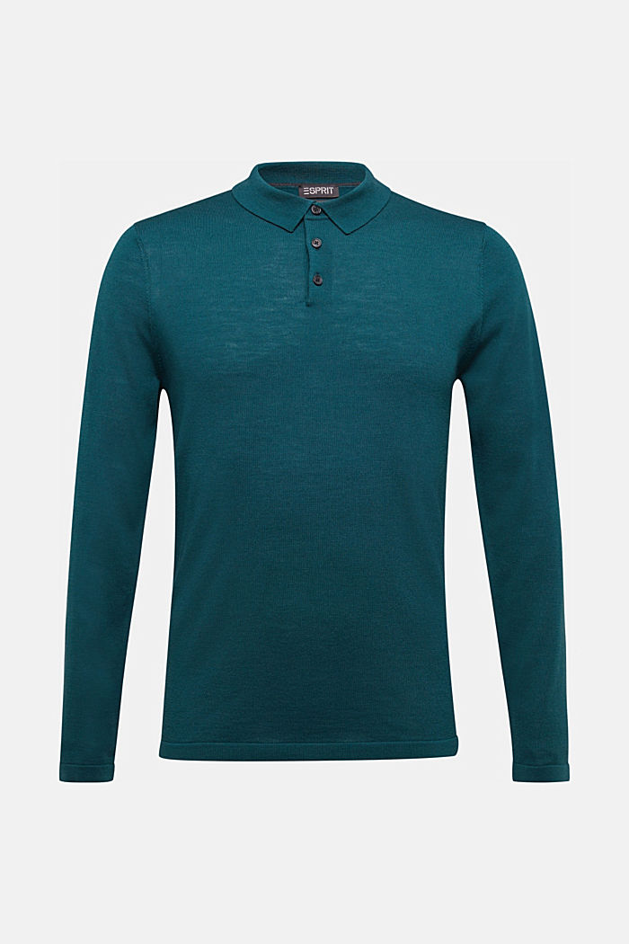 Made of 100% merino wool: Jumper with a collar, BOTTLE GREEN, detail image number 7