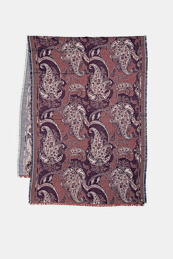 Fular en mezcla de algodón con diseño entretejido, DARK RED, detail image number 3