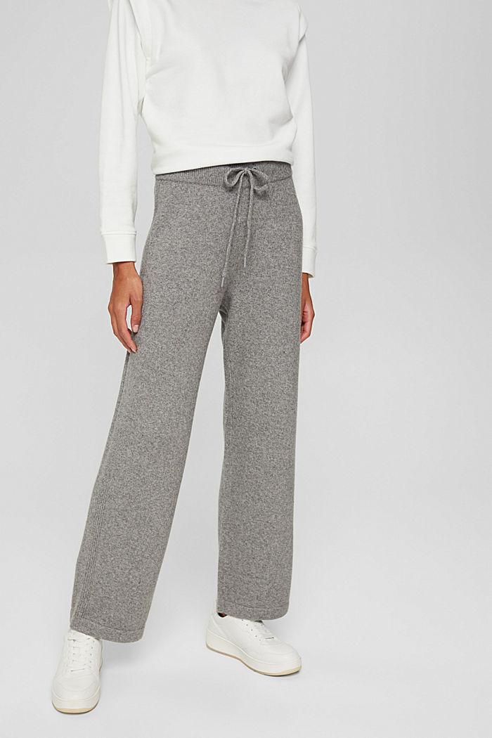 Med uld: strikkede bukser med vide ben