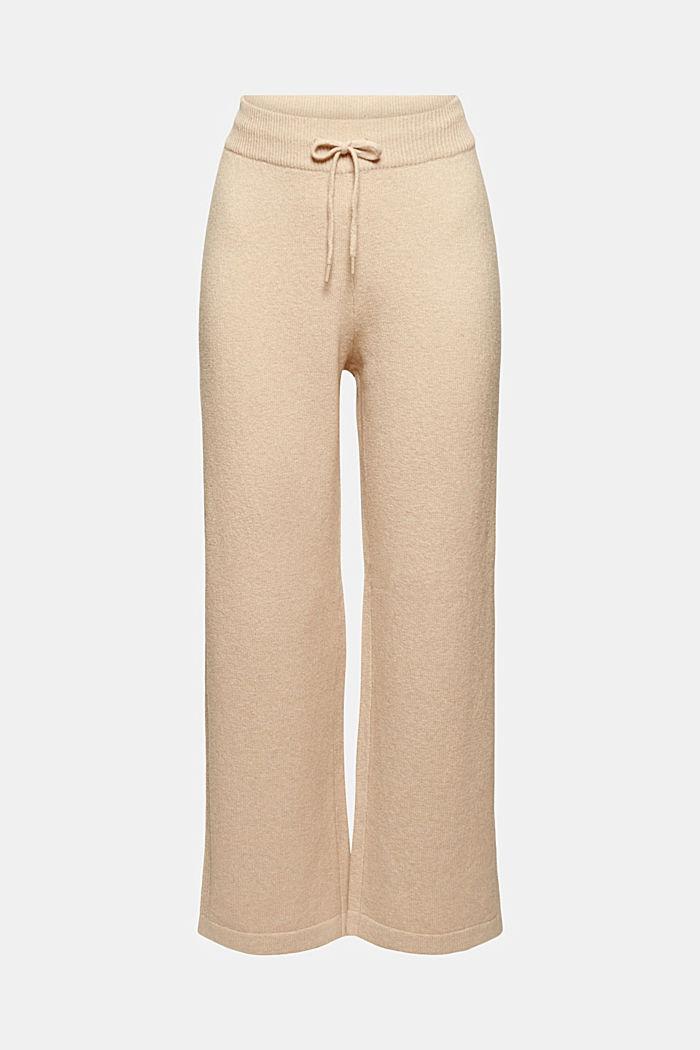 Con lana: pantaloni a maglia con gamba larga