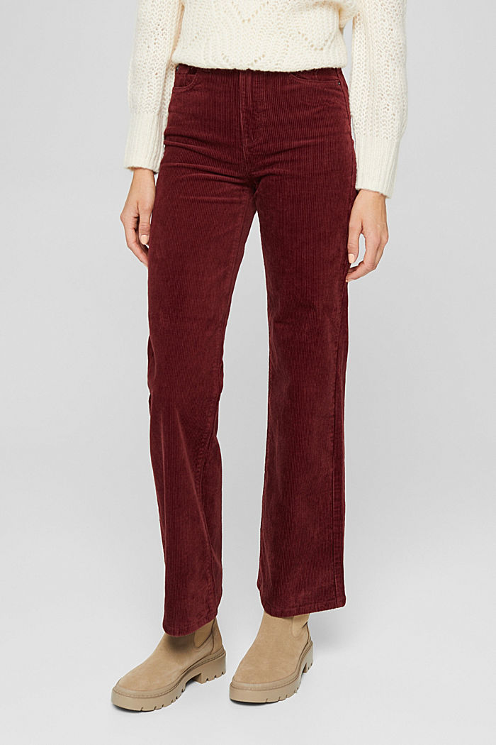 Pants woven Wide Leg High Rise, GARNET RED, detail image number 0