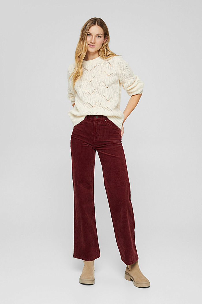 Pants woven Wide Leg High Rise, GARNET RED, detail image number 1