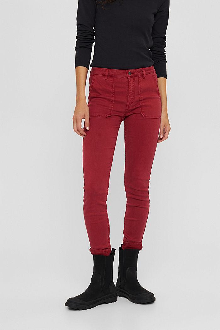 Pants woven Skinny Fit Medium Rise, DARK RED, detail image number 0