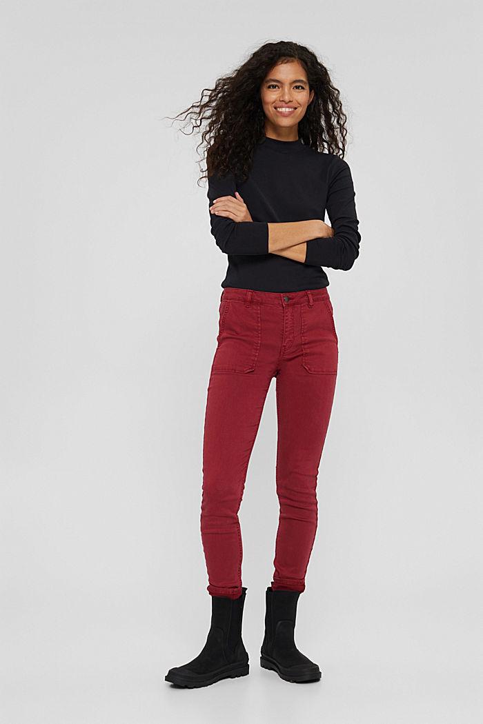 Pants woven Skinny Fit Medium Rise, DARK RED, detail image number 7