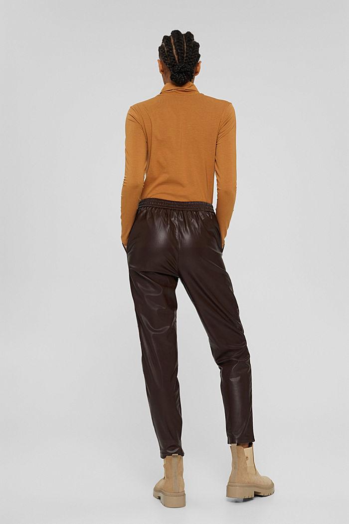 Pantalon de jogging en similicuir, muni d'une taille à cordon de serrage, BROWN, detail image number 3