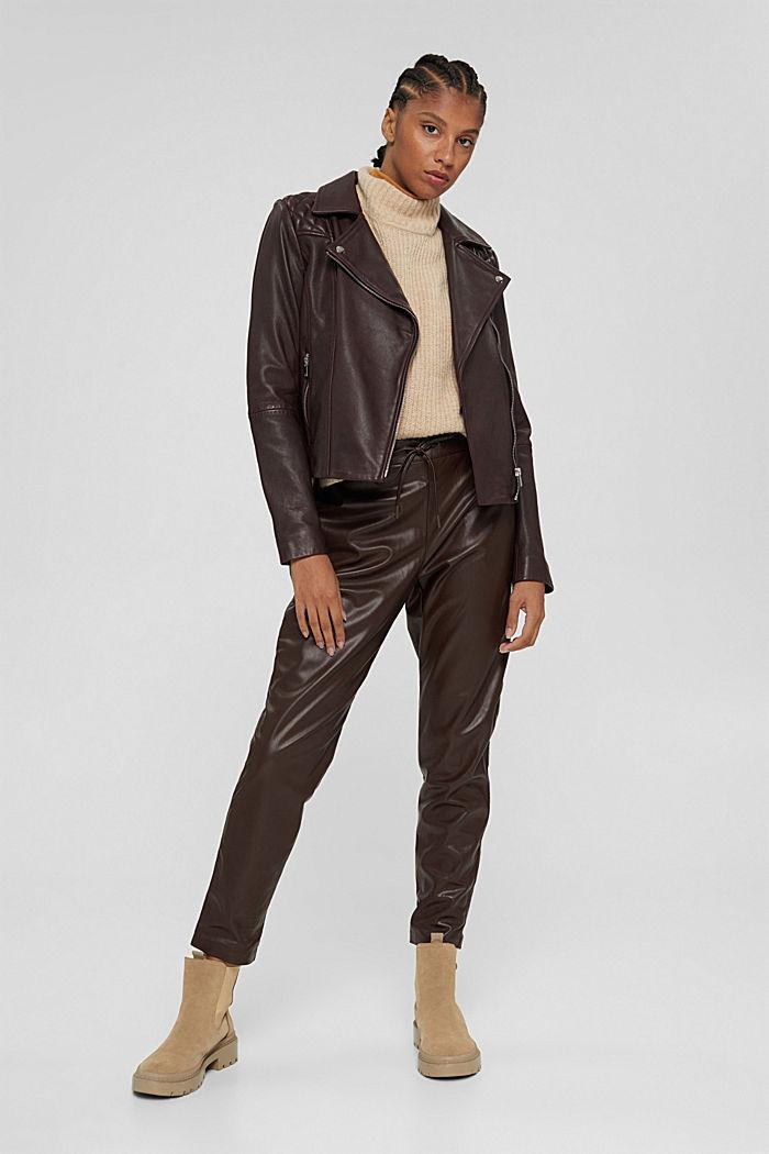 Pantalon de jogging en similicuir, muni d'une taille à cordon de serrage, BROWN, detail image number 1