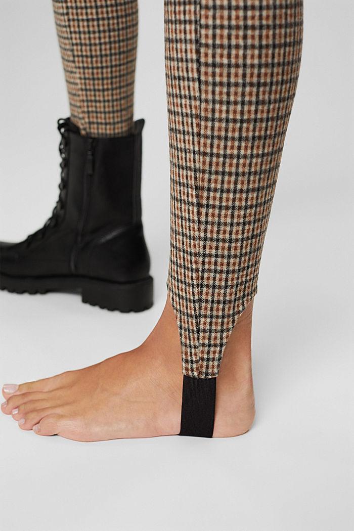 Karierte Steg-Leggings mit Flanell-Touch, BEIGE, detail image number 2