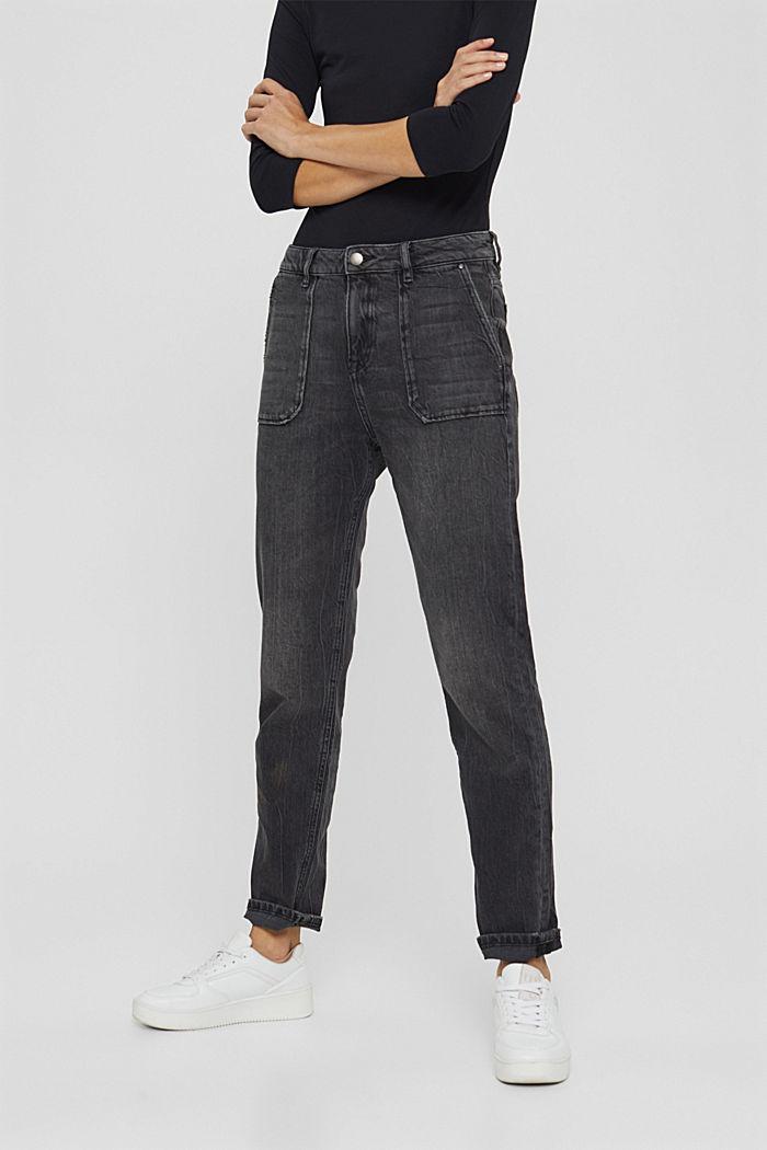 Boyfriend-Jeans aus Organic Cotton, BLACK DARK WASHED, detail image number 0