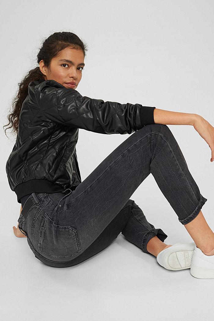 Boyfriend-Jeans aus Organic Cotton, BLACK DARK WASHED, detail image number 6