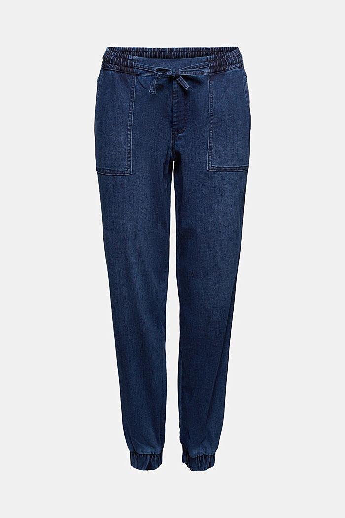 Pants denim Jogger Medium Rise, BLUE DARK WASHED, detail image number 6
