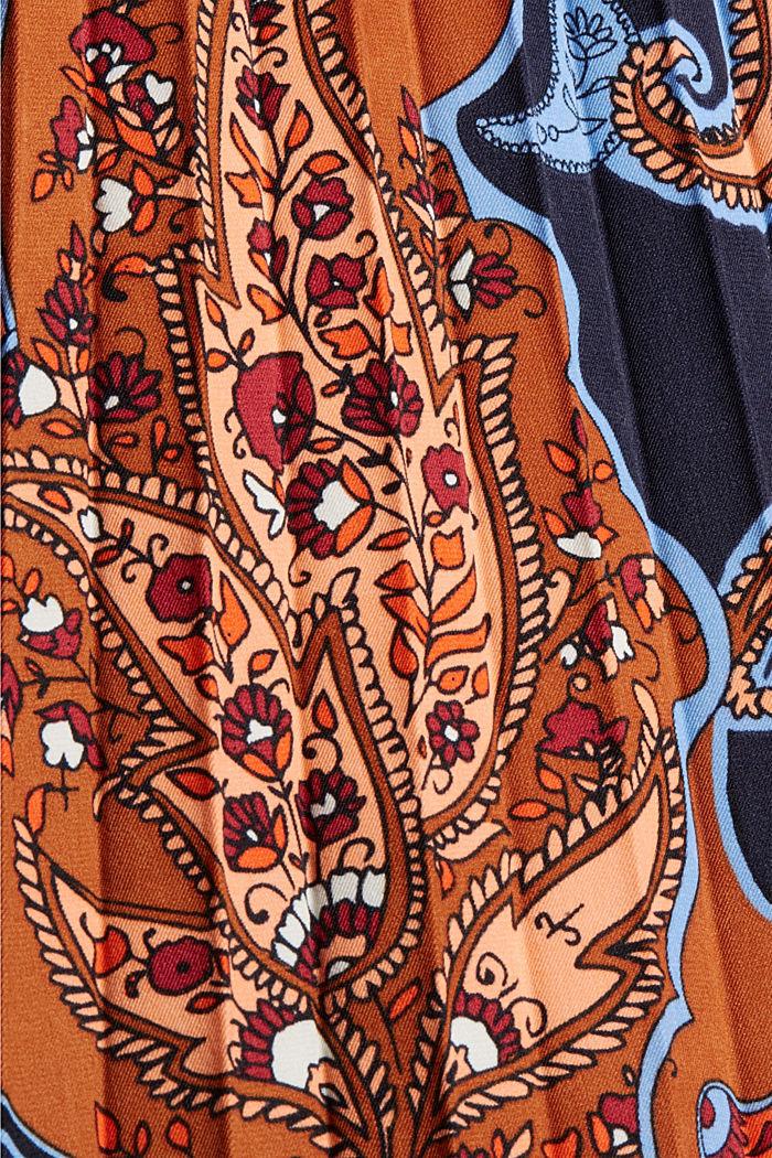 Recycelt: plissierter Midirock mit Paisleyprint, NAVY, detail image number 4