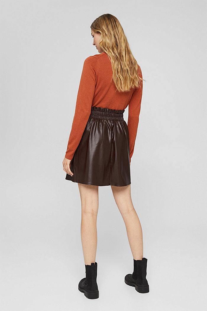 Mini-jupe en similicuir à taille smockée, BROWN, detail image number 3