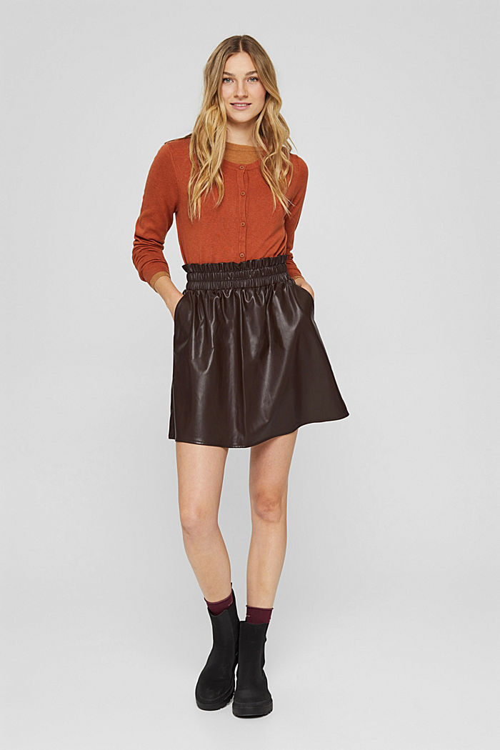 Mini-jupe en similicuir à taille smockée, BROWN, detail image number 1