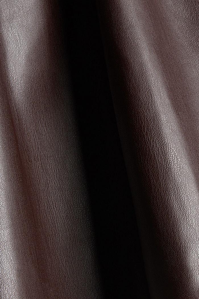 Mini-jupe en similicuir à taille smockée, BROWN, detail image number 4