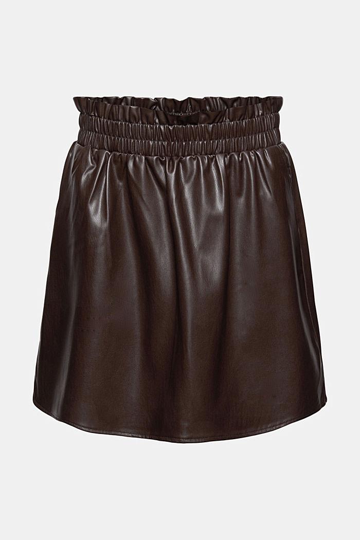 Mini-jupe en similicuir à taille smockée
