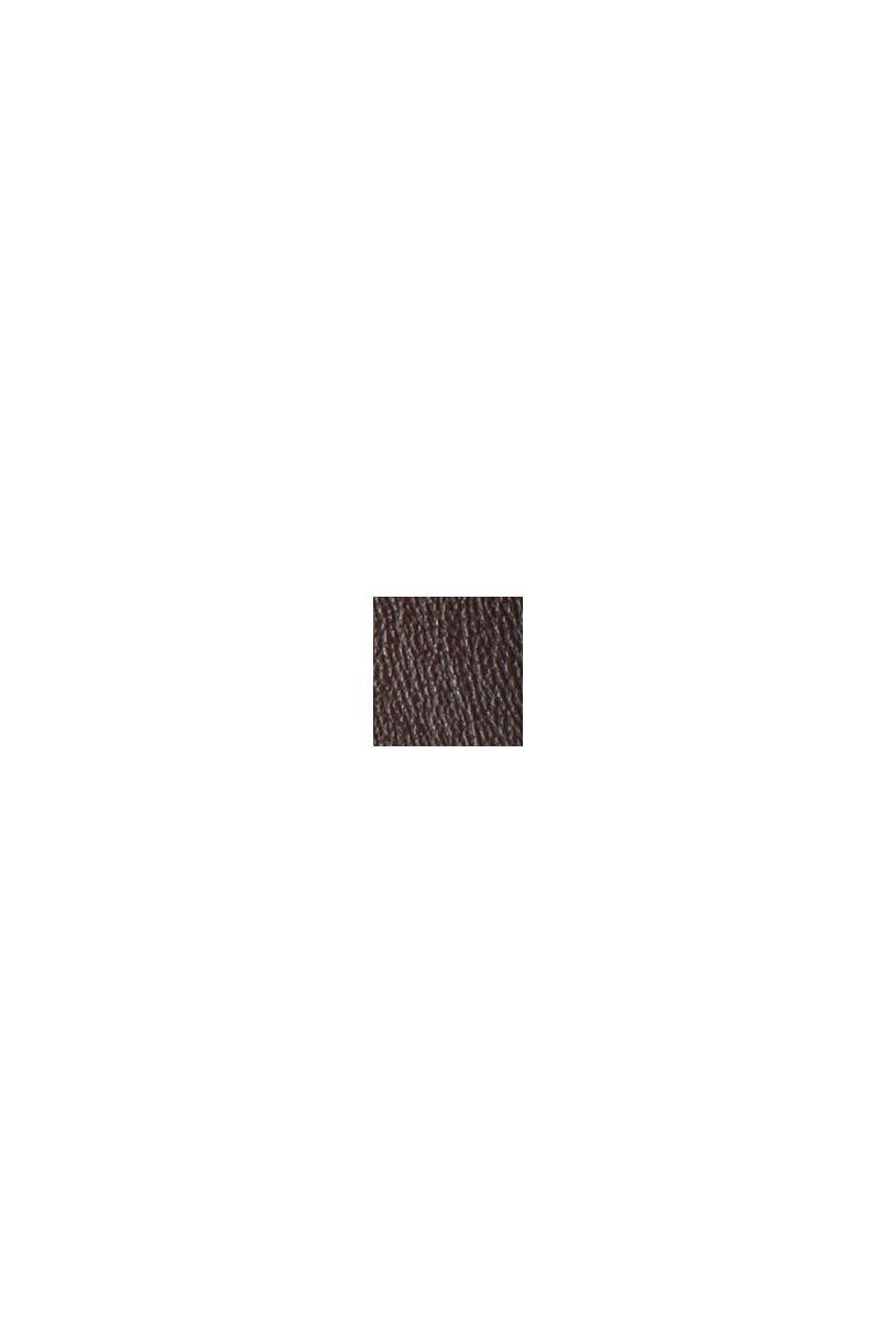 Mini-jupe en similicuir à taille smockée, BROWN, swatch