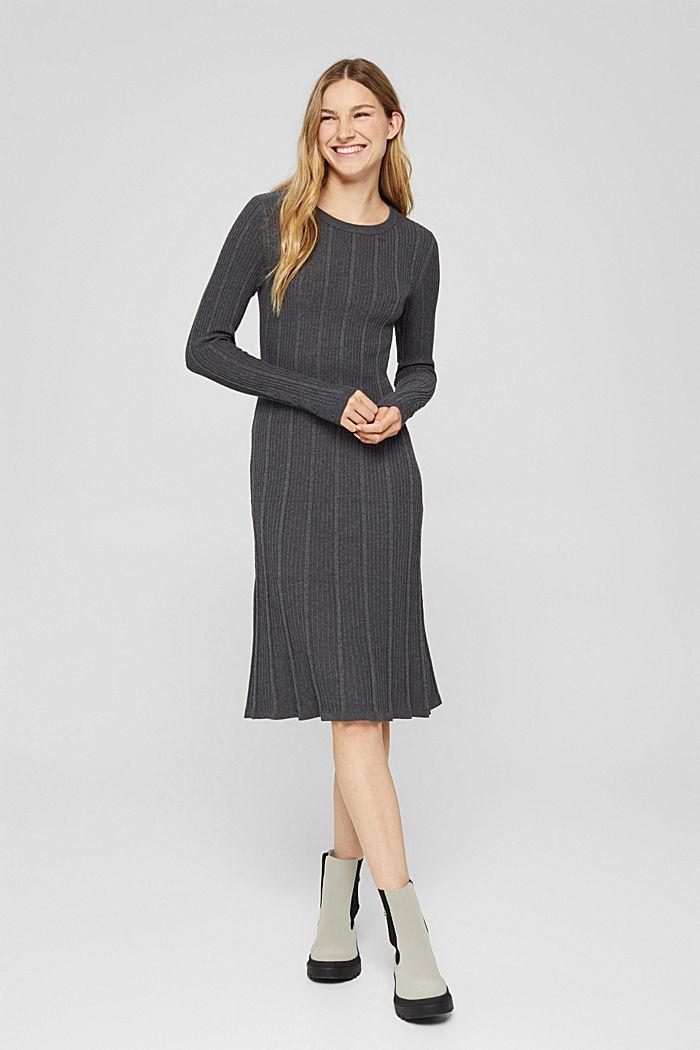 Tailliertes Rippstrick-Kleid, 100% Baumwolle, ANTHRACITE, detail image number 0