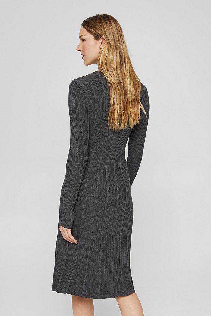 Tailliertes Rippstrick-Kleid, 100% Baumwolle, ANTHRACITE, detail image number 2
