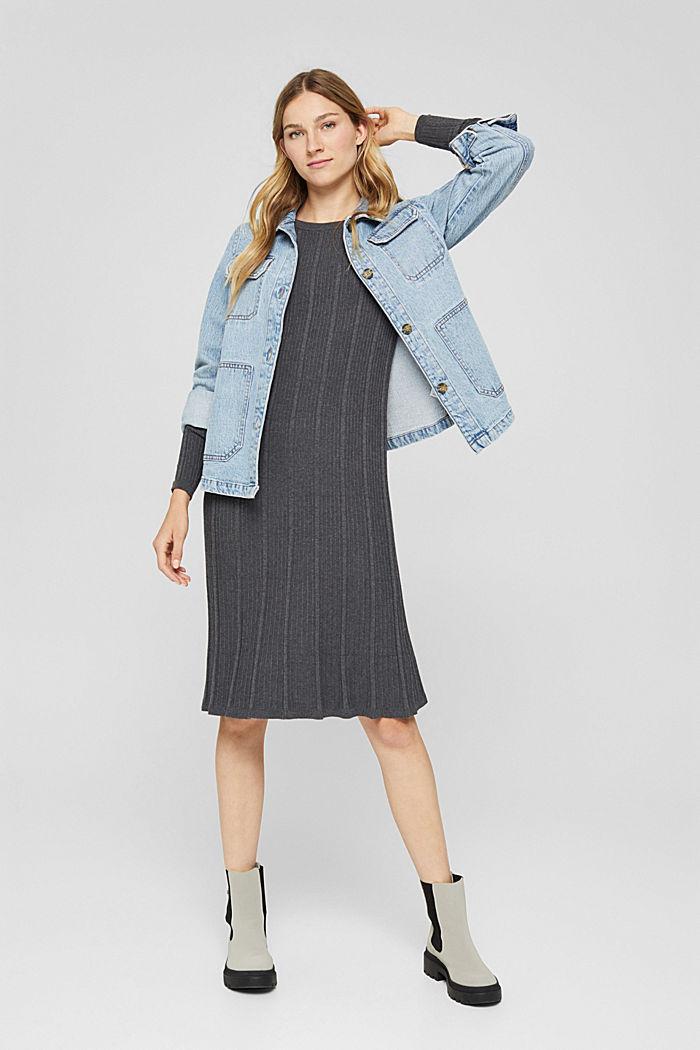 Tailliertes Rippstrick-Kleid, 100% Baumwolle, ANTHRACITE, detail image number 1