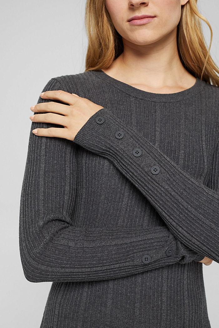 Tailliertes Rippstrick-Kleid, 100% Baumwolle, ANTHRACITE, detail image number 3