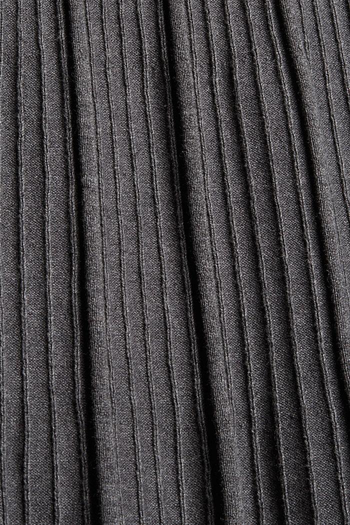 Tailliertes Rippstrick-Kleid, 100% Baumwolle, ANTHRACITE, detail image number 5