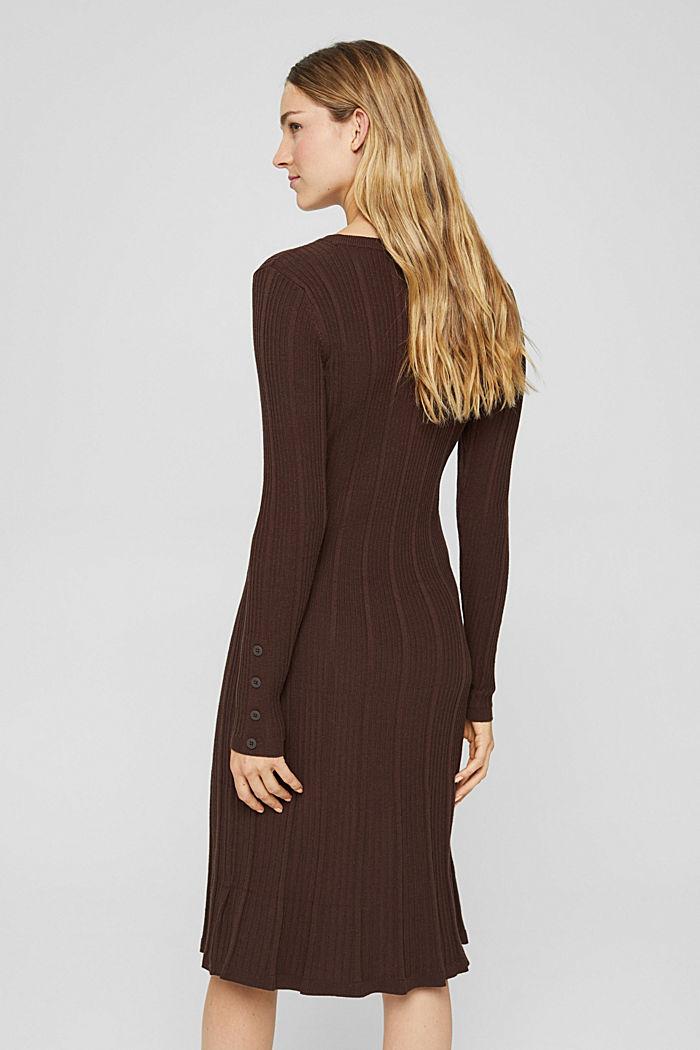 Robe cintrée en maille côtelée, 100% coton, BROWN, detail image number 2