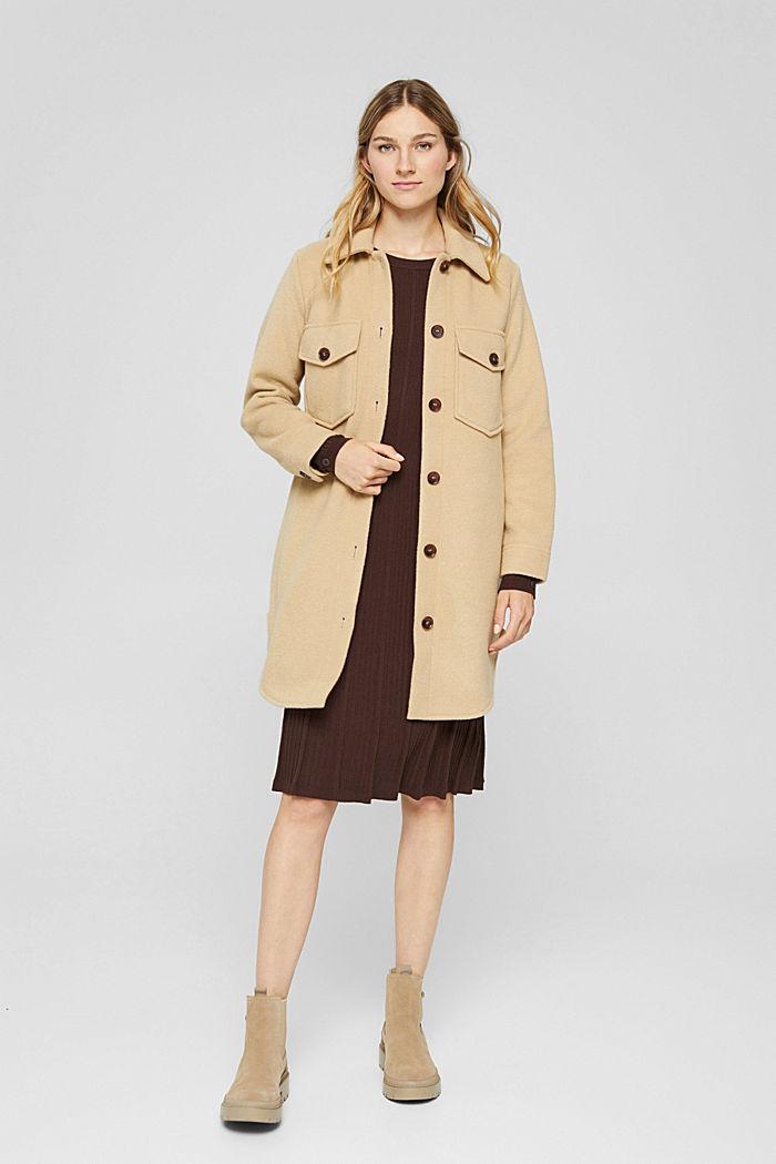 Robe cintrée en maille côtelée, 100% coton, BROWN, detail image number 1